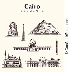 Set of hand-drawn Cairo buildings.Egypt sketch vector illustration.