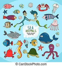 Set of hand-drawn cartoon sea life with a diver mermaid...