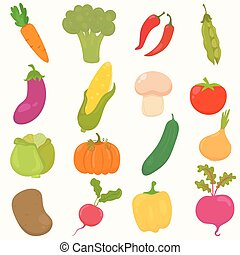 Set of hand drawn, cartoon vegetables.