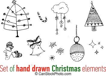 Set of hand drawn Christmas doodles.