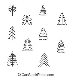 Set of hand drawn Christmas tree.