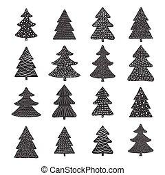 Set of hand drawn christmas trees