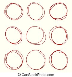 Set of hand drawn circles on white background