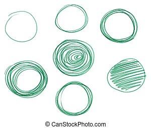 Set of Hand drawn circles, vector logo design elements. Marker, felt pen, liner style