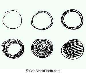 Set of Hand drawn circles, vector logo design elements. Marker, felt pen, liner style.
