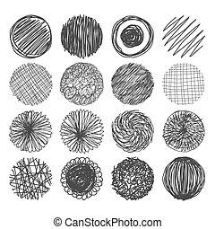 Set of hand drawn circles. Vector logo design elements.