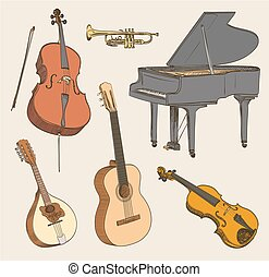 Set of hand drawn classical musical instruments. Cello, violin, guitar, mandolin, piano. Vector illustration