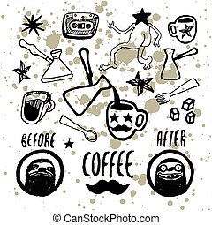 Set of hand-drawn coffee elements.
