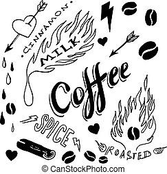Set of hand drawn coffee theme elements