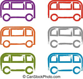 Set of hand-drawn colorful bus icon