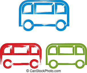 Set of hand-drawn colorful bus icons, illustrated brush drawing