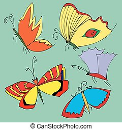 Set of hand drawn colorful butterflies