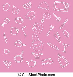 Set of hand drawn cookware. Kitchen pink girl background. Doodle kitchen equipments. Vector illustration. Sekitchen utensils silhouette tools, appliances, cooking Retro-Styled