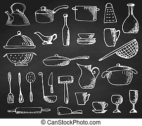 Set of hand drawn cookware on the chalkboard. Vector ...