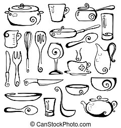 Set of hand drawn cookware. Vector illustration.