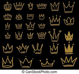 Set of hand drawn crown icons on dark background. Design element for logo, label, sign, poster, card.