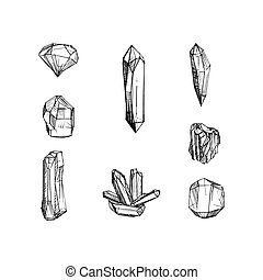 Set of hand drawn crystals illustration in vector.