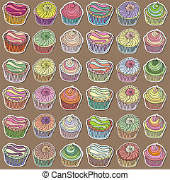 Set of hand drawn cupcakes
