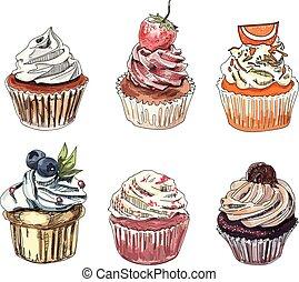 Set of hand drawn cupcakes.
