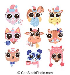 Set of hand drawn cute funny animals heads in different hats, earmuffs, mufflers, with Christmas decor. Isolated objects on white background. Vector flat illustration. Stickers Design concept for kids