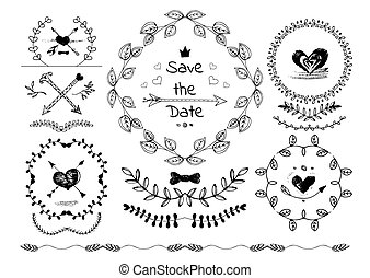 Set of hand drawn decorative design elements.
