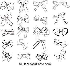 ribbons - set of hand drawn decorative ribbons