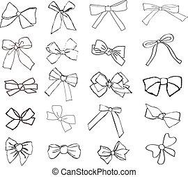 ribbons - set of hand drawn decorative ribbons
