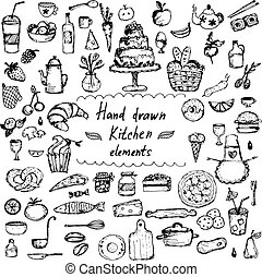 Set of hand drawn design elements for kitchen theme .Vector