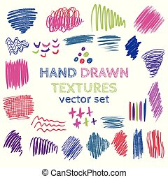Set of hand drawn design elements. Vector collection of color pencil and ink abstract textures.