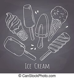 Set of hand drawn different ice cream. Food design for cafe menu on chalkboard . Chalk style background