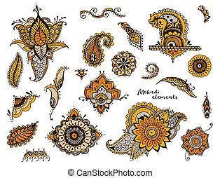 Set of hand drawn different mehndi elements. Stylized flowers, florals, leaves, indian paisley collection. Colorful ethnic illustration.
