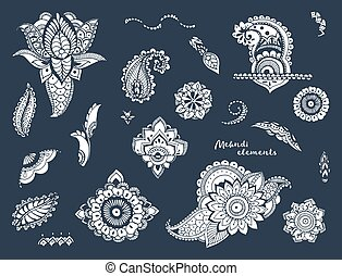 Set of hand drawn different mehndi elements. Stylized flowers, florals, leaves, indian paisley collection. Monochrome ethnic illustration on a dark background.