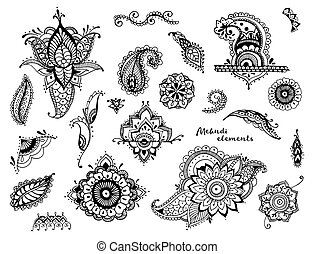 Set of hand drawn different mehndi elements. Stylized flowers, leaves, indian paisley collection. Black and white ethnic illustration.