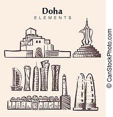 Set of hand-drawn Doha buildings.Morocco sketch vector illustration.