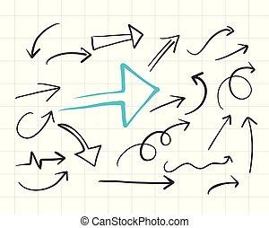 set of hand drawn doodle arrows