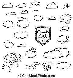 Set of Hand Drawn Doodle Clouds. Vector Illustration.