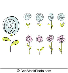 set of hand drawn doodle flowers