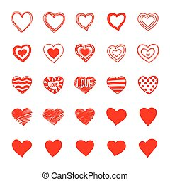 Set of hand drawn doodle hearts