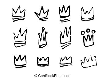 Set of hand drawn doodles crowns. Vector illustration
