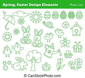 Set of hand drawn Easter design elements
