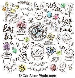 Set of hand drawn Easter doodles