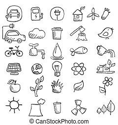 Set of hand drawn eco icons