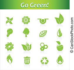 Set of hand drawn eco icons.