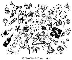 Set of hand drawn elements for the holiday. Doodle illustration of a birthday party. Hands pack a gift, sweets, garland, coffee, wine, bow, cupcakes. Vector isolated on white
