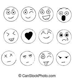 Set of hand drawn emoji isolated on white background, vector doodle illustration