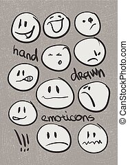 Set of  hand drawn emoticons . Vector eps8