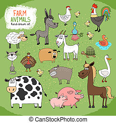 Set of hand-drawn farm animals and livestock with a black and white cow horse donkey sheep pig piglet goose duck rooster hen with chicks guard dog cat goat and tortoise