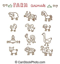 Set of hand drawn farm animals. Sheep, cow, horse, pig, goose, duck, rooster, hen with chicks, rabbit, dog, cat and goat