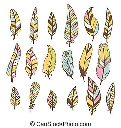 Set of hand drawn feathers. Vector doodles design elements