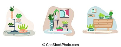 Set of hand-drawn flat interiors with house plants.